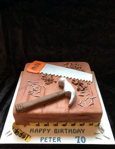 wood birthday cake